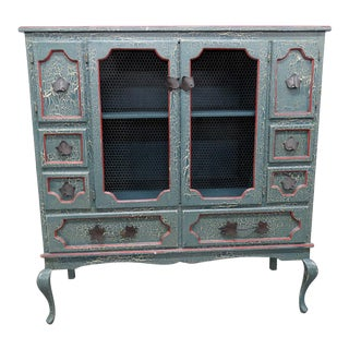 20th Century Shabby Chic Distressed Painted Cabinet For Sale