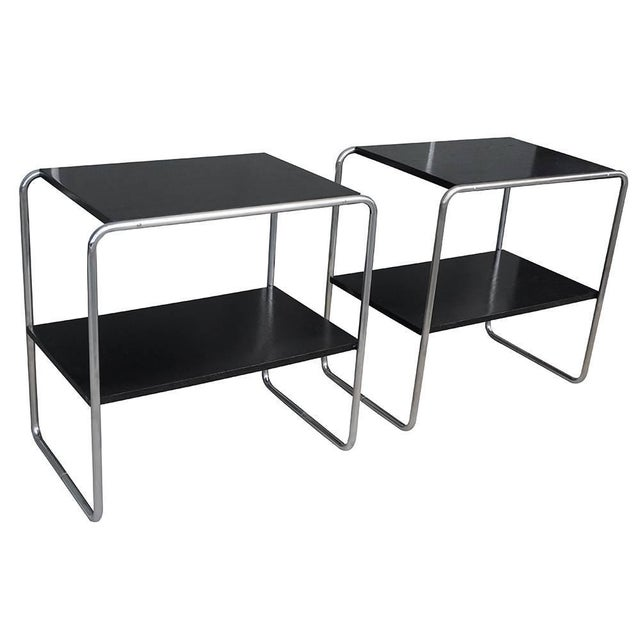 Pair of Bauhaus Marcel Breuer bar console tables. Black lacquered plywood and chrome steel, circa 1930, Austria.