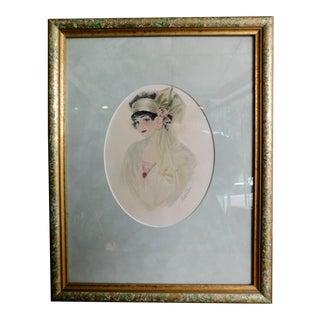 Original 1920's Mademoiselle Watercolor For Sale