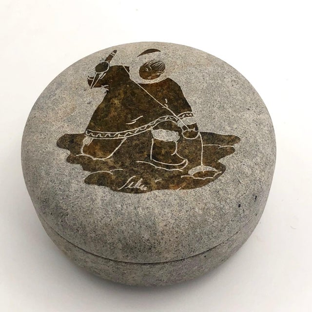 Gray Late 20th Century Inuit Etched Soapstone Lidded Box For Sale - Image 8 of 8