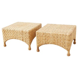 Pair of McGuire California Modern Rattan Drinks Tables For Sale