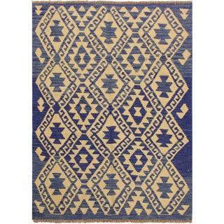 Contemporary Kilim Arya Tawna Blue/Ivory Wool Rug (3'3 X 4'11)