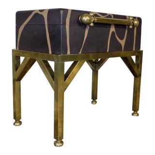 Hart Associates Brass & Giraffe Painted Wooden Trunk For Sale