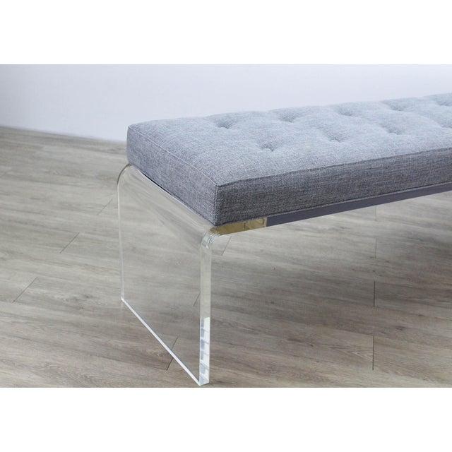Acrylic Elegant Custom Waterfall Acrylic & Linen Bench, Acrylic Bench, Gray Linen Bench For Sale - Image 7 of 10