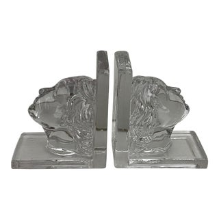 1930s Art Deco Woman's Head Glass Bookends - a Pair For Sale