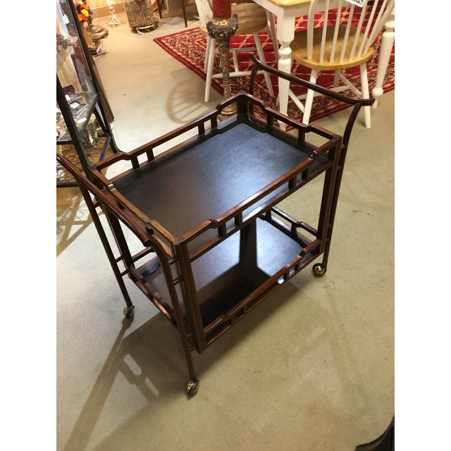 Vintage Rosewood Bamboo Tea Cart For Sale - Image 4 of 4