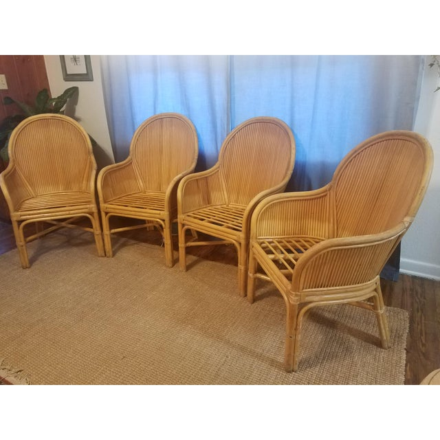 Boho Chic Palm Beach Pencil Reed Rattan Dining Chairs - Set of 4 For Sale - Image 3 of 10