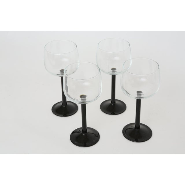 Vintage French Black Stem Glasses - Set of 4 - Image 6 of 7