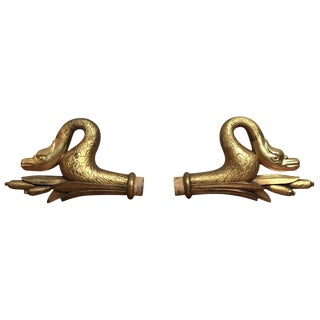 20th Century Regency Carved Wood Swan Curtain Finials - a Pair For Sale