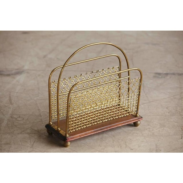 Gold 19th Century Aesthetic Movement Woven Brass Canterbury Rack For Sale - Image 8 of 8