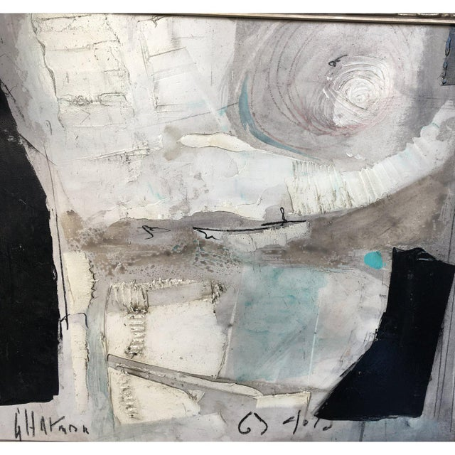 1960's Contemporary Black & White Abstract Painting by Graham Harmon For Sale In Los Angeles - Image 6 of 8