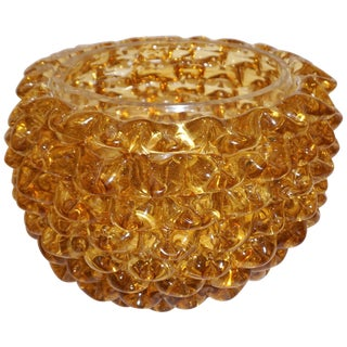 Barovier Toso 1950s Italian Vintage Amber Gold Rostrato Murano Glass Vase / Bowl For Sale