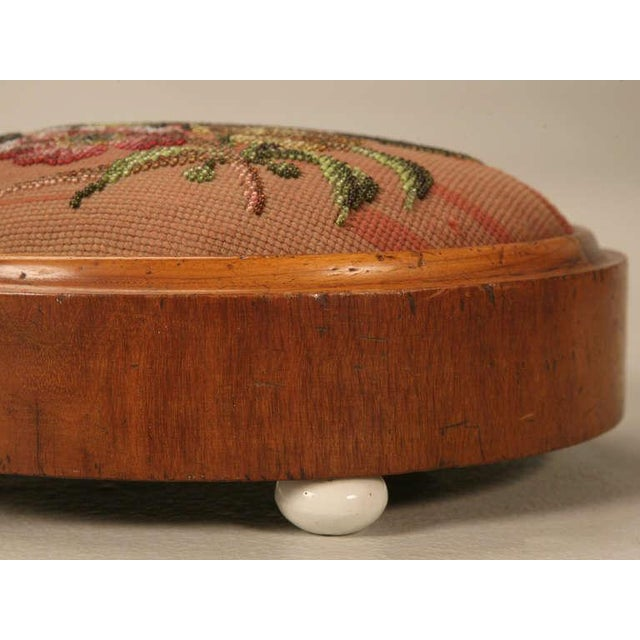 Green Antique English Folk Art Beaded Ladies' Footstool For Sale - Image 8 of 10