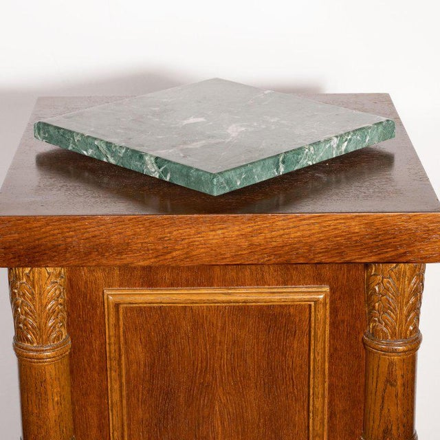 Art Deco Art Deco Hand Rubbed Oak Pedestal With Exotic Green Rotating Marble Top For Sale - Image 3 of 9
