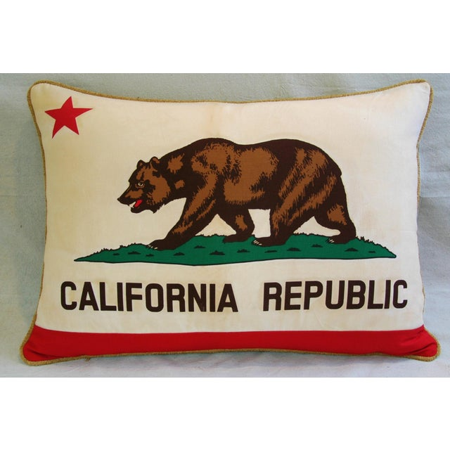 "Jumbo California Republic Bear Flag Feather/Down Pillow 31"" X 22"" For Sale - Image 9 of 10"
