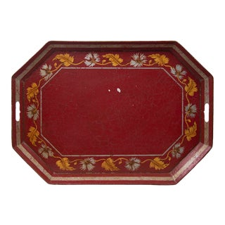 Vintage Red Octogonal Tray With Painted Leaf Border For Sale