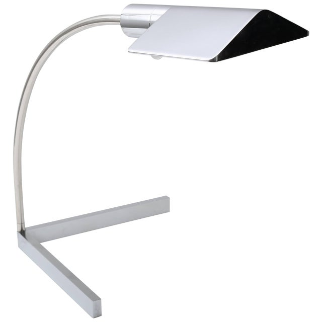 Polished Chrome Cantilevered Table Lamp by Cedric Hartman 1970s For Sale