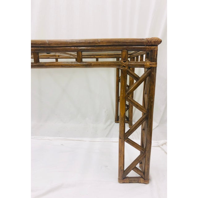 Bamboo Vintage Chinese Chippendale Rattan & Glass Top Table For Sale - Image 7 of 10