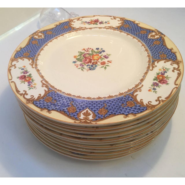 20th Century Edwardian Hand-Painted English Service Plates - Set of 10 For Sale - Image 4 of 7