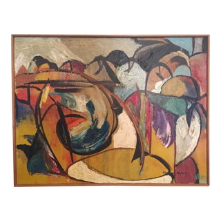 1960s Vintage Mid-Century Modern Abstract Oil on Canvas Painting