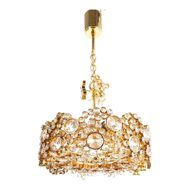Palwa Crystal Glass Gold-Plated Brass Chandelier Refurbished Lamp For Sale