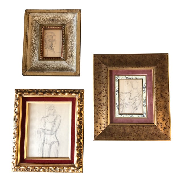 Gallery Wall Collection 3 Original Charcoal Female Portrait Studies For Sale