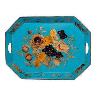 Vintage Hand-Painted Floral Serving Tray For Sale