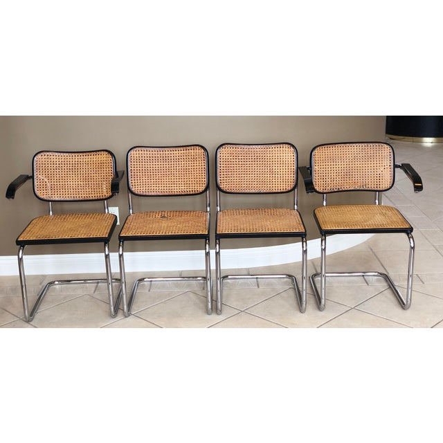 We are very pleased to offer an authentic set of Knoll Ebonized Beech Cesca Chairs, five chairs are armless and two have...