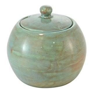 1950s Aqua Lidded Pot