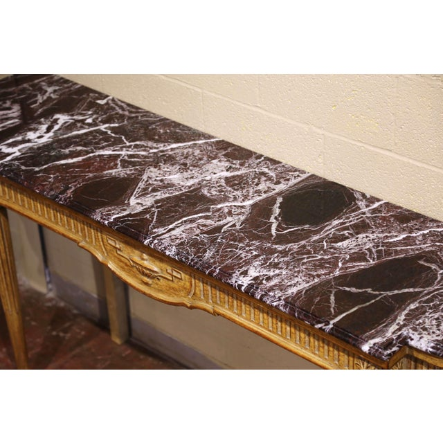 Tan Midcentury French Louis XVI Carved and Painted Console Table With Marble Top For Sale - Image 8 of 12