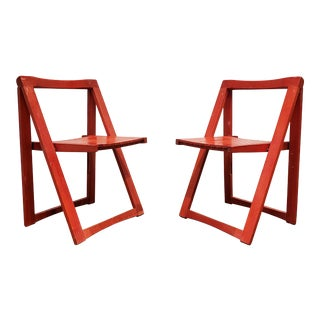 Red Mid-Century Modern Wood Folding Chairs - a Pair For Sale