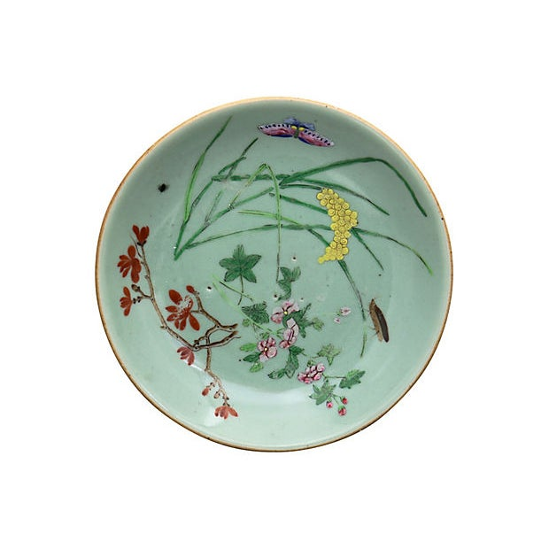 Antique Chinese celadon Wucai porcelain plates. Hand-enameled garden and butterfly scene, skillfully and intricately...