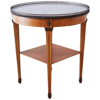 Neoclassical French Louis XVI Style Marble Bouilotte Table For Sale
