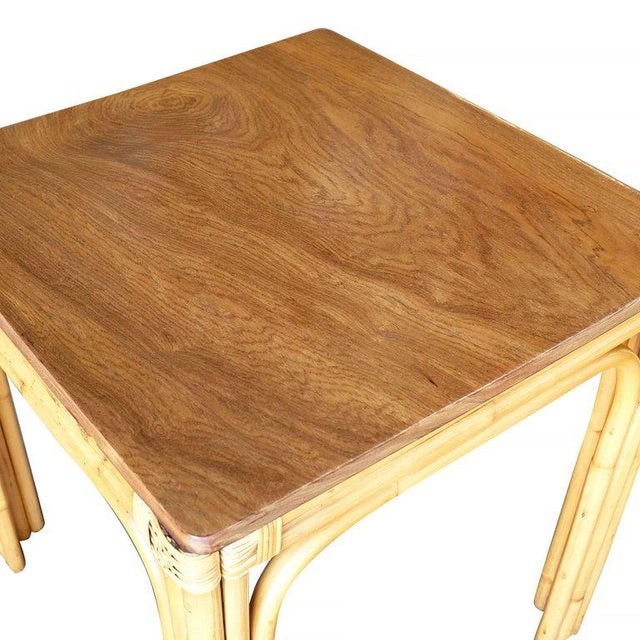 Restored Mid-Century Four Person Rattan and Mahogany Dining Table - Image 4 of 6