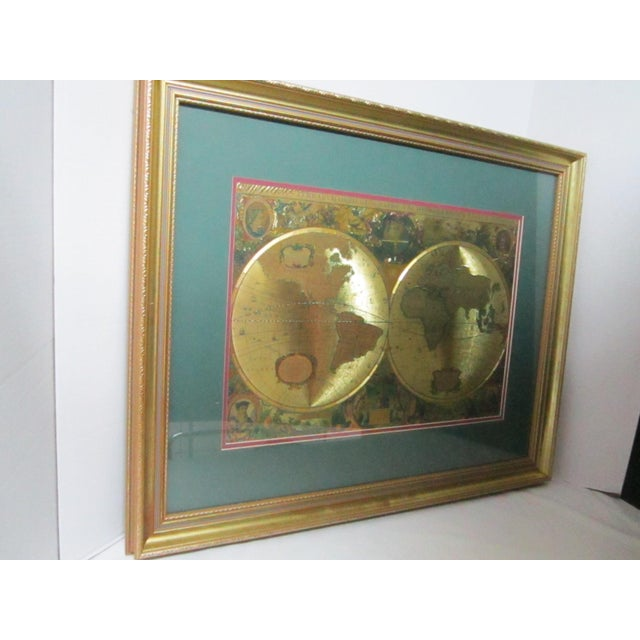 Framed gold foil green matted renaissance world map chairish framed gold foil green matted renaissance world map image 10 of 11 gumiabroncs Image collections