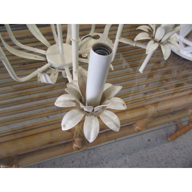 Regency Palm Beach Faux Bamboo Chandelier For Sale - Image 3 of 7
