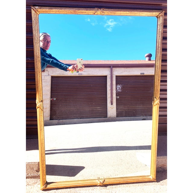 Traditional 1950s Large Gold Leaf Framed Mirror For Sale - Image 3 of 13