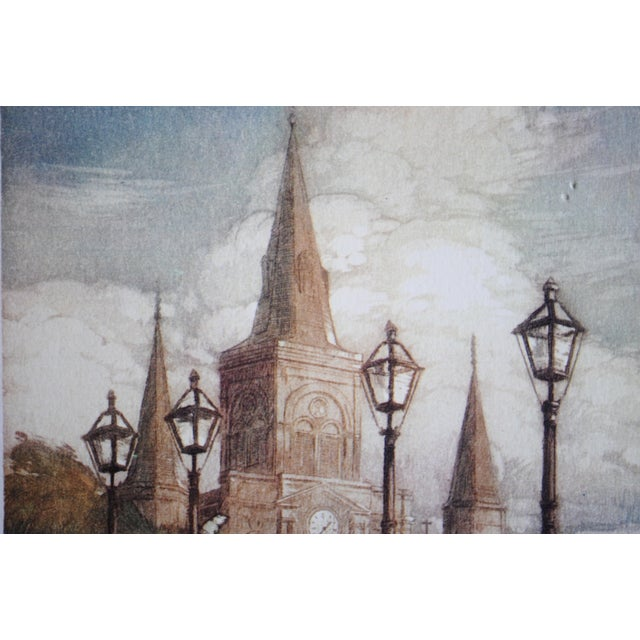 1940s New Orleans Print, St. Louis Cathedral - Image 3 of 7