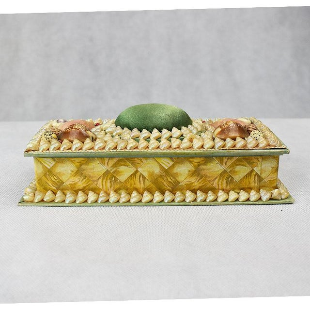 Shell Encrusted Rectangular Keepsake Box With Green Silk Lid For Sale - Image 6 of 7