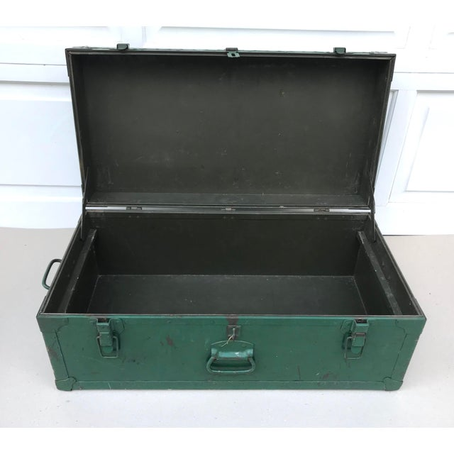 Vintage Metal Green Trunk - Image 2 of 6
