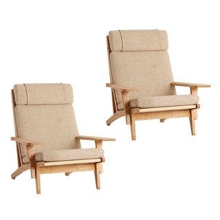 Pair of Hans Wegner Ge 375 Armchairs W/ Original Wool Upholstery Circa 1969