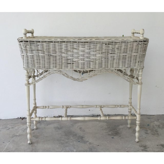 Antique White-Painted Wicker & Wood Planter - Image 3 of 9