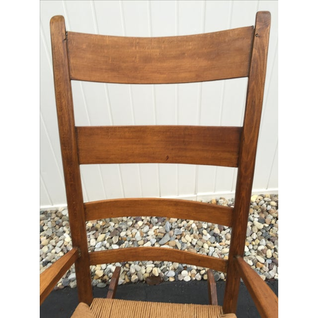 Antique Maple Rush Rocking Chair - Image 5 of 9