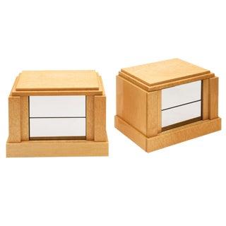 Modernist Burl Wood Side Tables For Sale