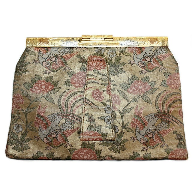 1930's French Bird Motif Brocade Purse With Matching Frame and Fabric For Sale - Image 4 of 6