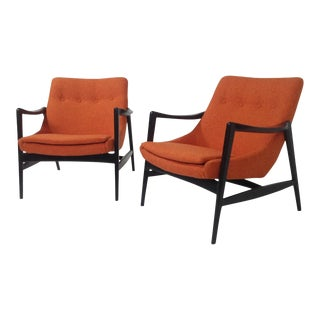 Mid-Century Modern Orange Chenille Lounge Chairs - a Pair For Sale