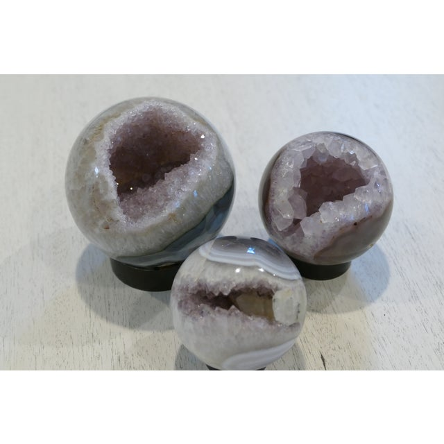 Decorative Amethyst Spheres - Set of 3 For Sale In New York - Image 6 of 10