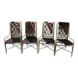 Image of Hollywood Regency Mastercraft Imperial Dining Chairs Newly Upholstered - Set of 4 For Sale