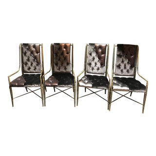 Mastercraft Faux Bamboo Brass Imperial Dining Chairs Newly Upholstered - Set of 4 For Sale