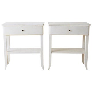 Pair of Modern Goatskin Nightstands or Tables For Sale